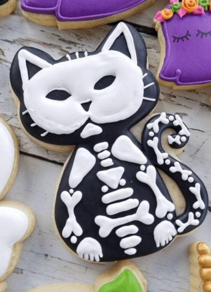 Doces de Halloween Gato Esqueleto