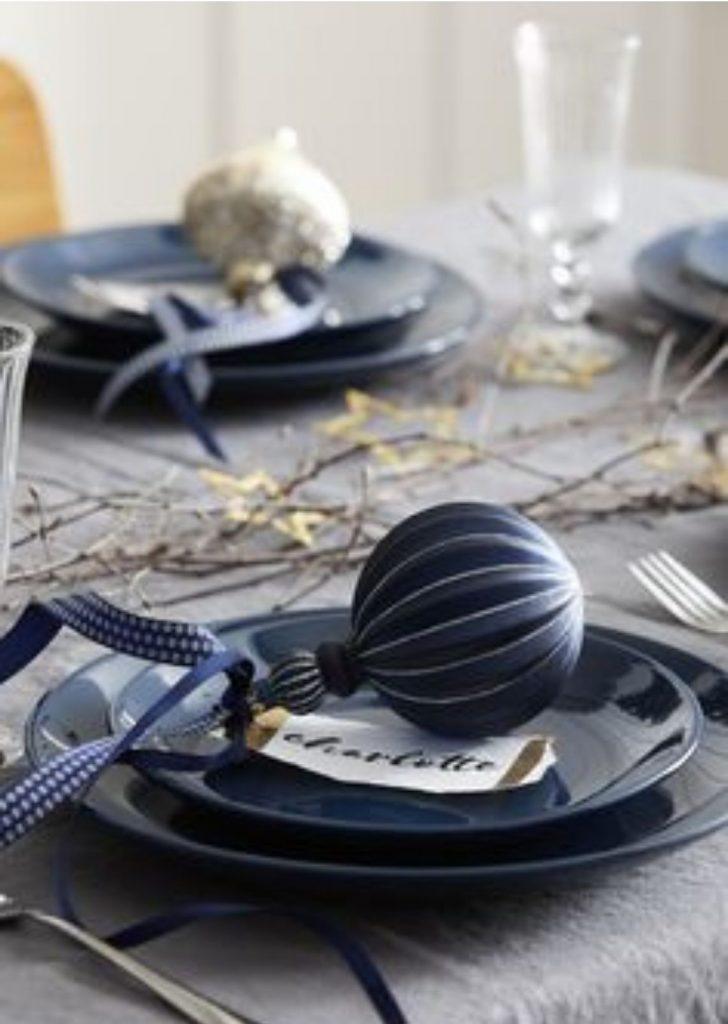 Mesa de Natal Azul Marinho