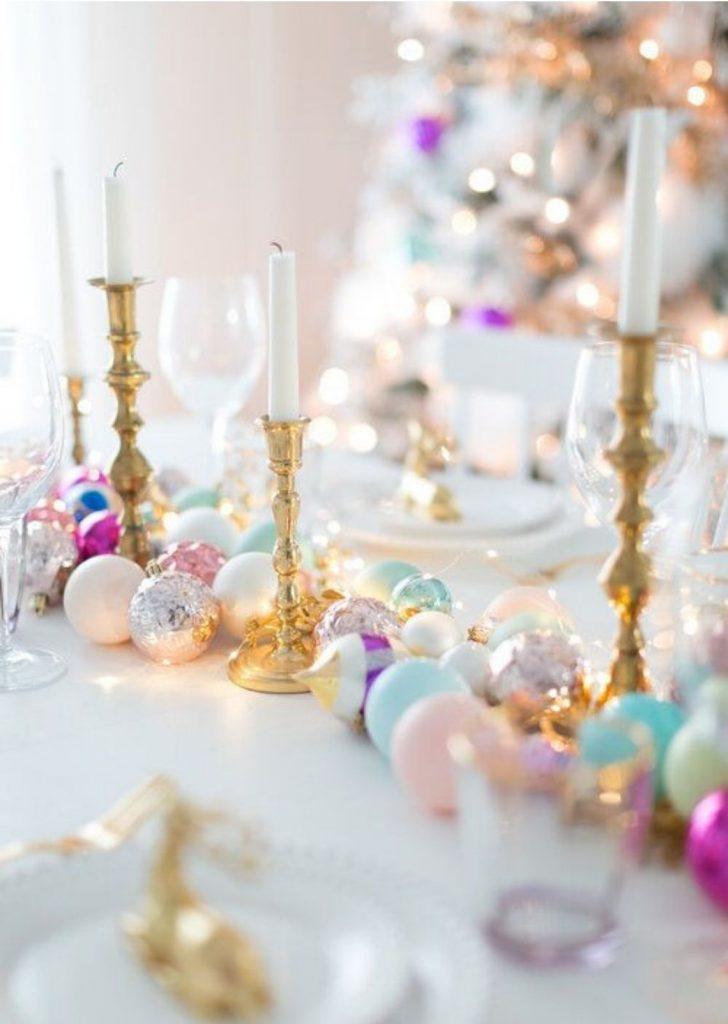 Mesa de Natal Bolas e Velas
