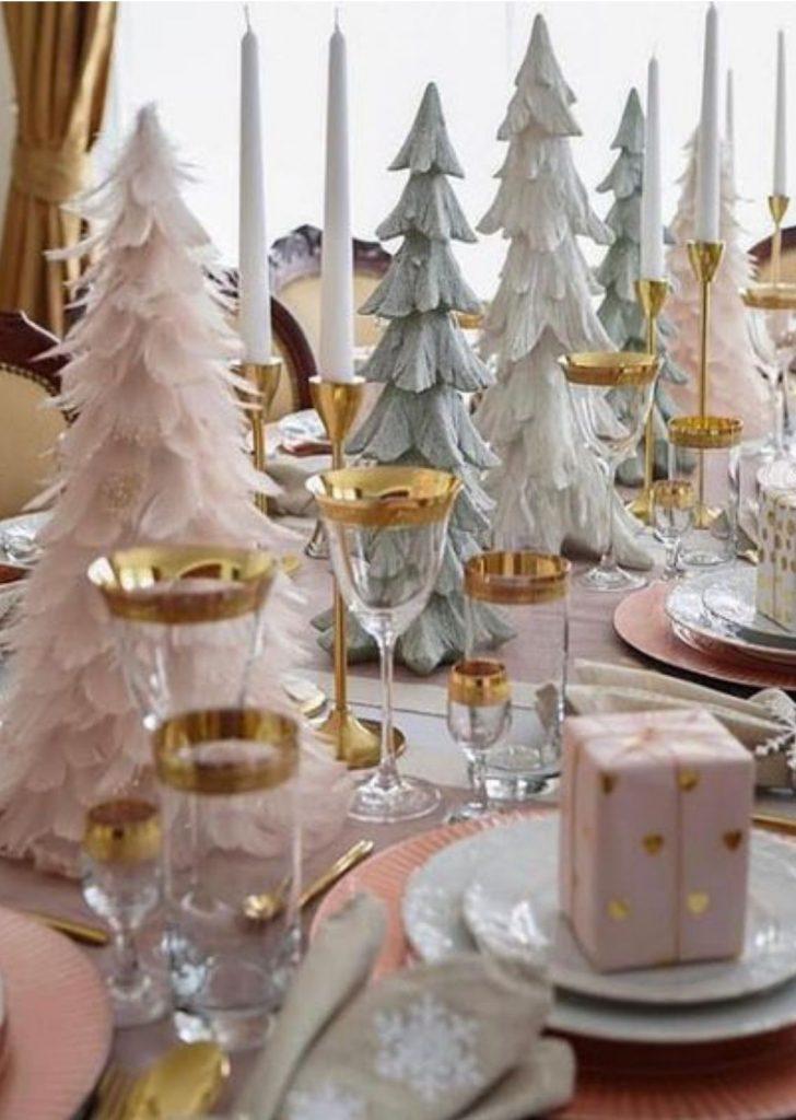 Mesa de Natal Branco Rosa e Dourado 2