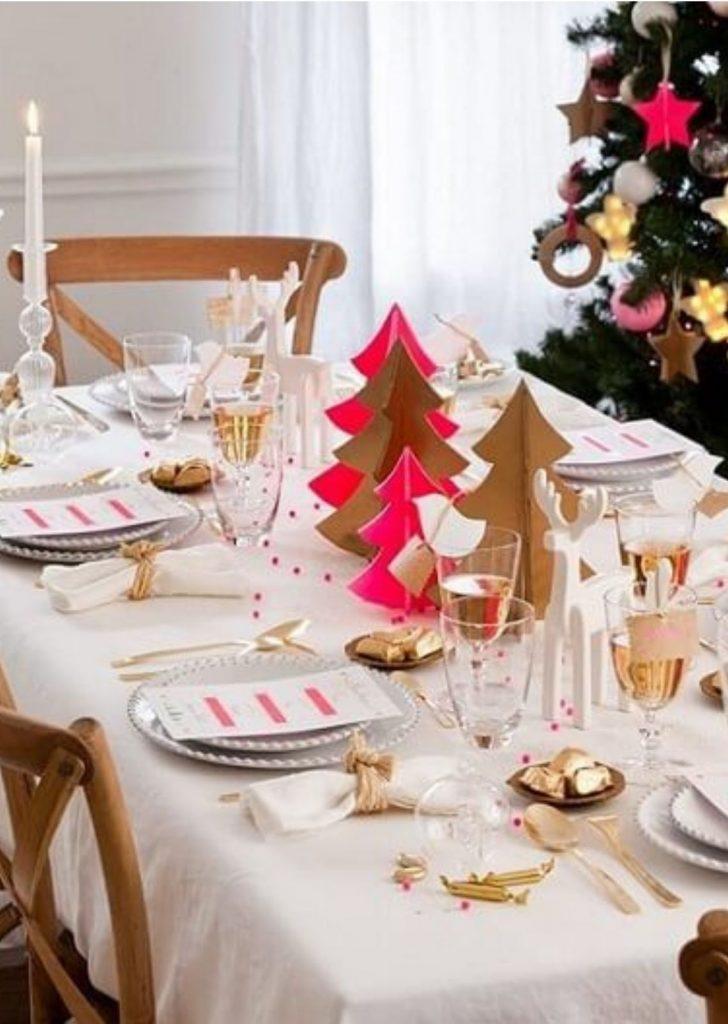 Mesa de Natal Branco Rosa e Dourado