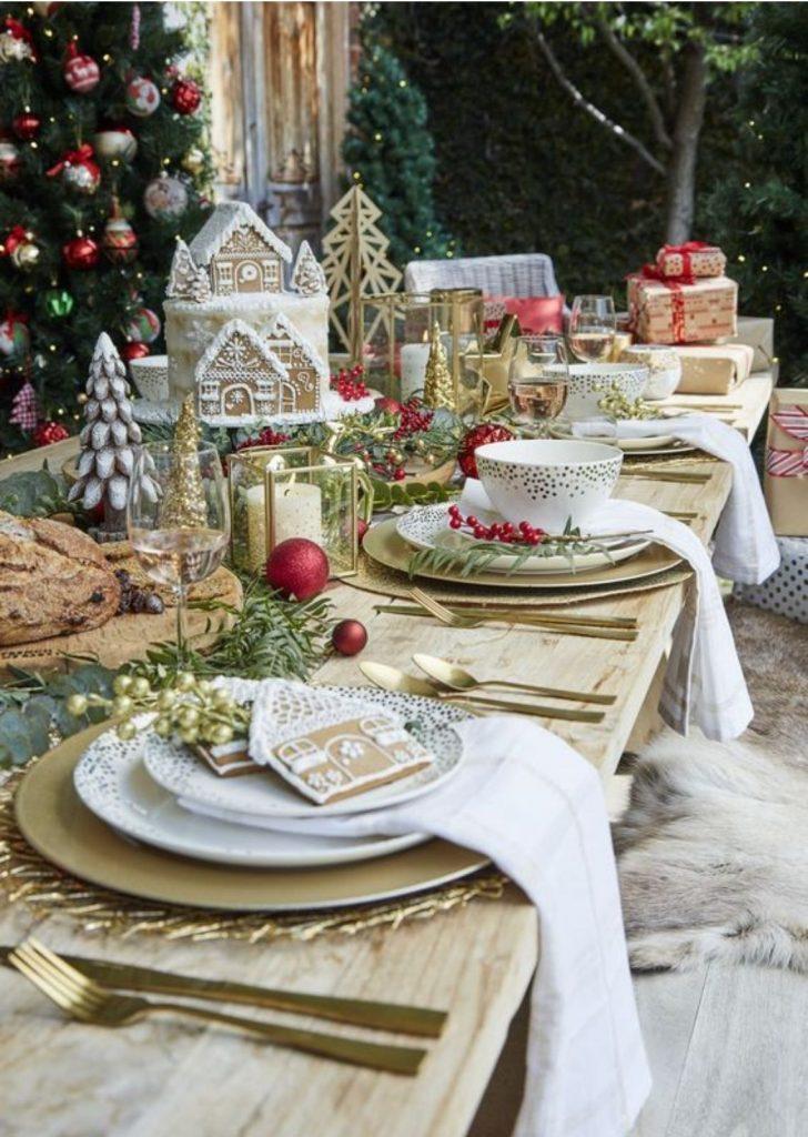 Mesa de Natal Branco Vermelho e Dourado 2