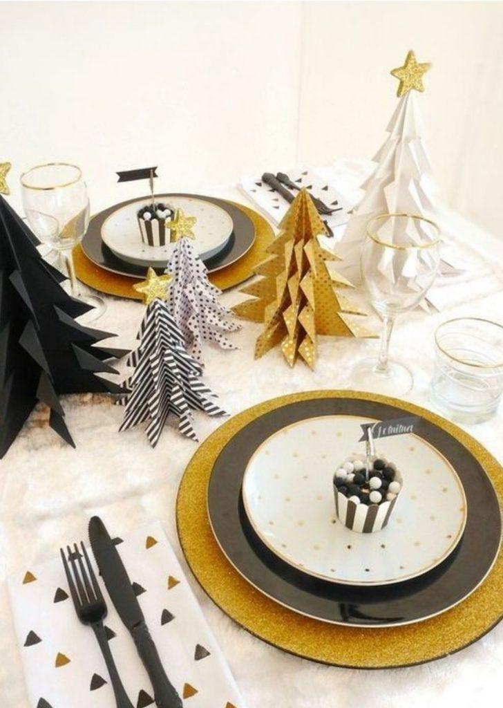 Mesa de Natal Branco Preto Dourado