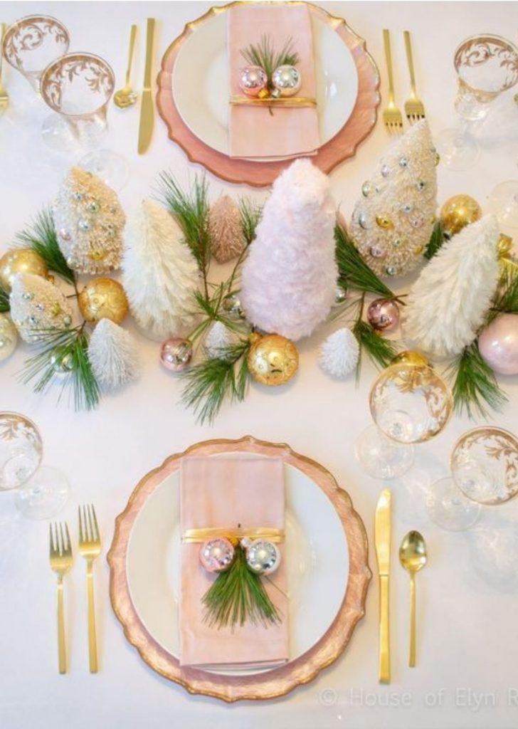 Mesa de Natal Rose Branco e Dourado